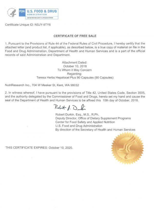 Giấy phép FDA của Hepatocel Plus