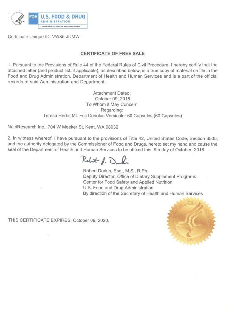Giấy phép FDA của nấm Vân chi