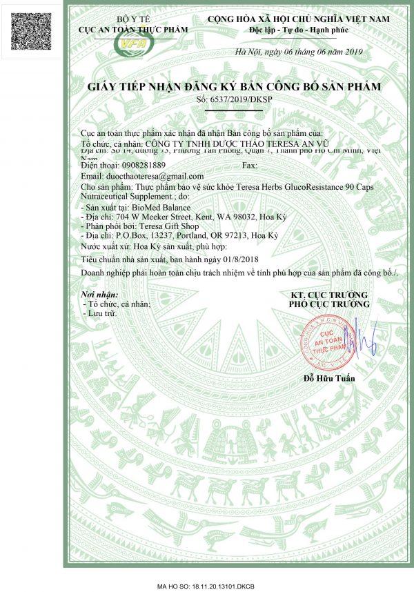 giấy phép glucoResistance