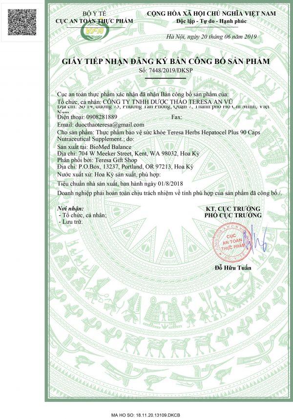 giấy phép hepatocel Plus